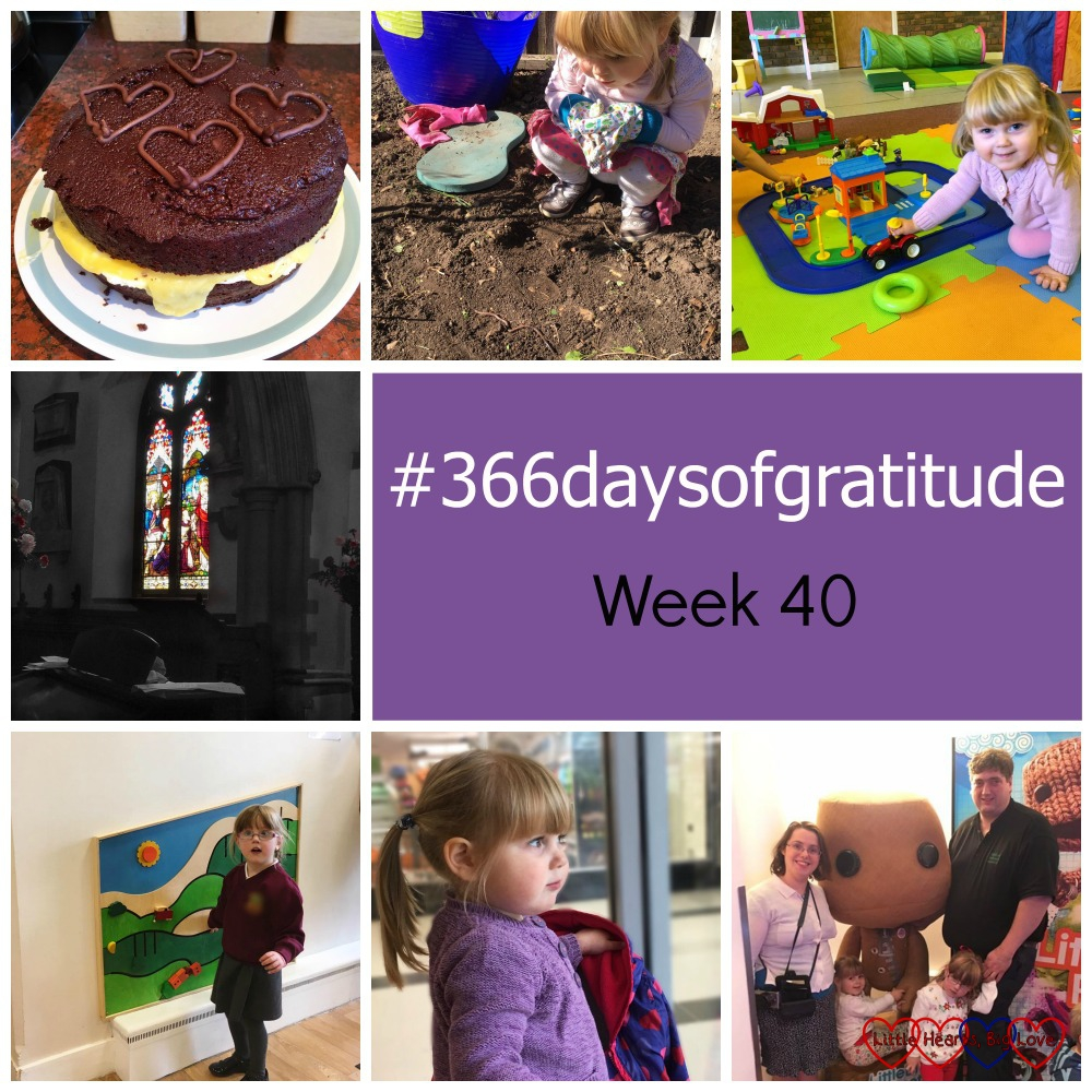 Baking a cake, wriggly worms in the garden, small world play, the harvest festival, being discharged from the hearing clinic, watching the world go by and family time at a blog event - the things I'm grateful for this week