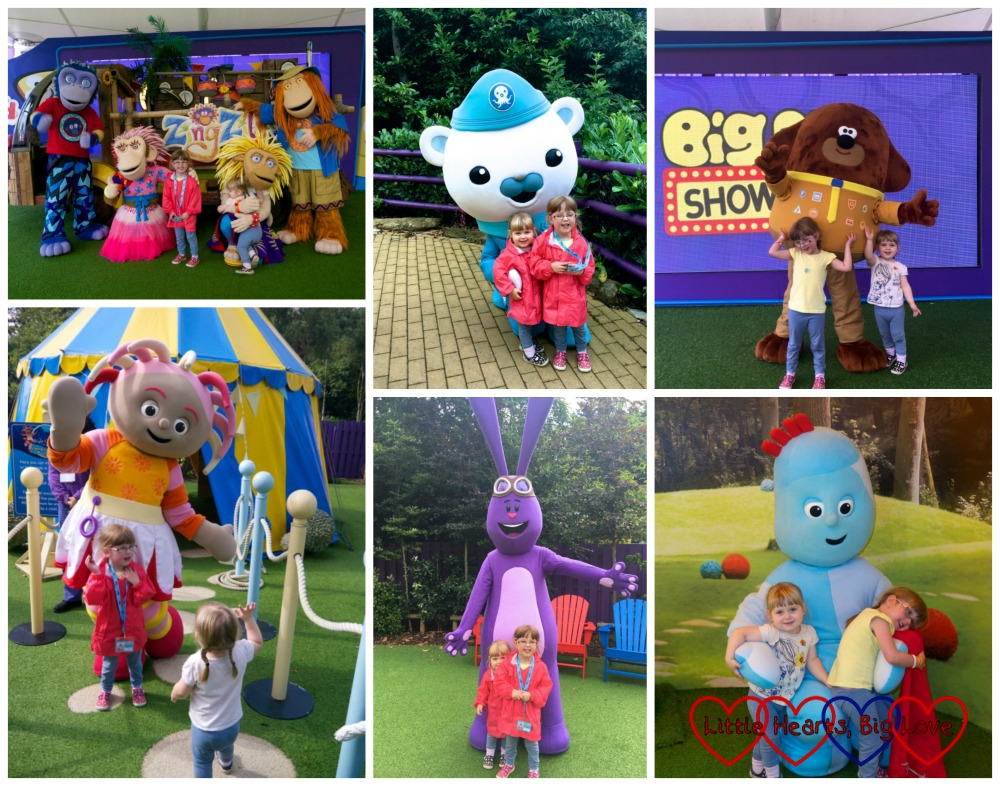 Meeting the characters at Cbeebies: (clockwise from top left) Zingzillas, Captain Barnacles, Hey Duggee, Upsy Daisy, Mim-Mim and Igglepiggle