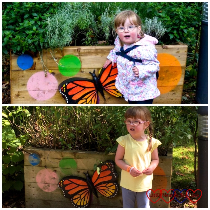 (top) Jessica next to a butterfly in the Something Special Sensory Garden aged 2yrs 11 months and (bottom) the same location with Jessica aged 4yrs 11mths