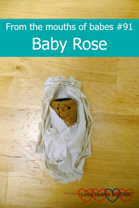 "A cork baby ""Rose"" in a Moses basket - From the mouths of babes #91 - Baby Rose"
