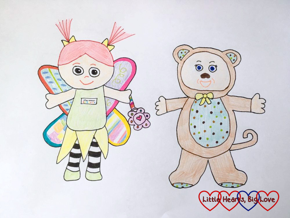 My drawing of Kerry, the Lamaze fairy doll, and Monkey, the Cabbage Patch doll - two of my girls' favourite toys