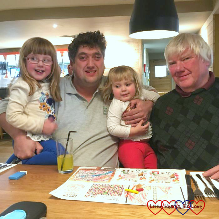 Jessica, hubby, Sophie and Grandad out for a meal on Grandad's birthday