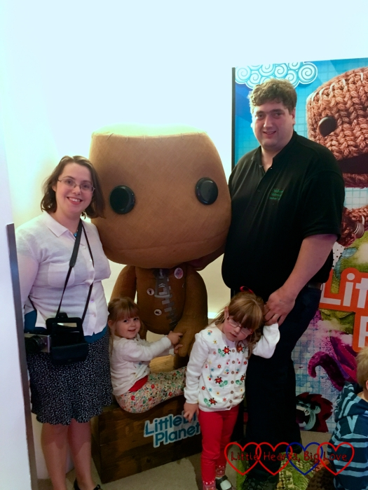 Me, hubby, Jessica and Sophie with Sackboy at the PlayStation Kids and Parenting Showcase
