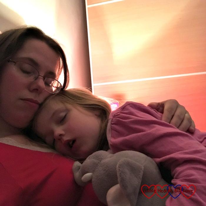 A fast asleep Jessica snuggled up to Mummy