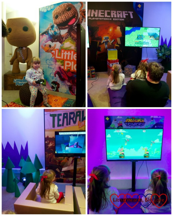 Jessica and Sophie at the various games station areas - clockwise from top left - Little Big Planet 3; Minecraft; Tricky Towers and Tearaway Unplugged