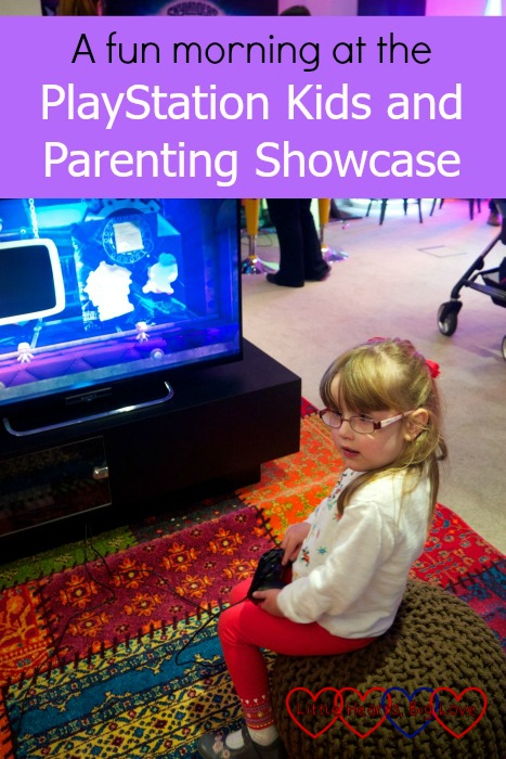 Jessica playing Little Big Planet 3 at the PlayStation Kids and Parenting Showcase