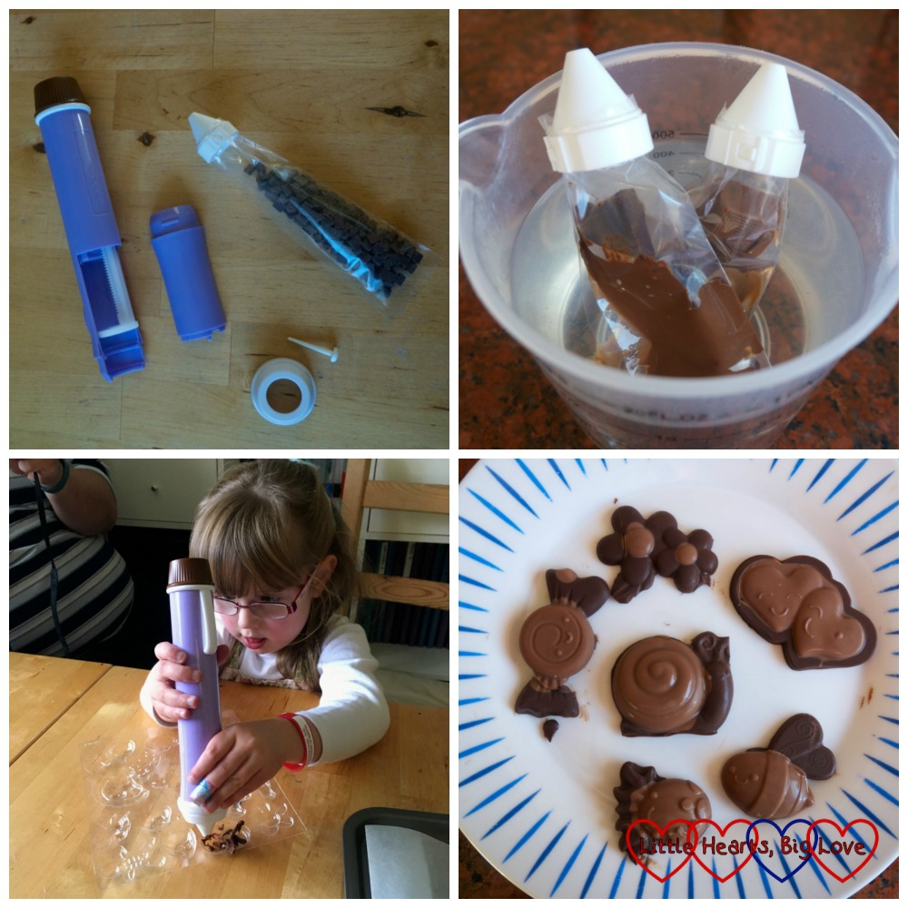 The pen taken apart, with a pouch of chocolate; two pouches of chocolate melting in a jug of water; Jessica filling moulds with the chocolate pen and some of the chocolate we made.
