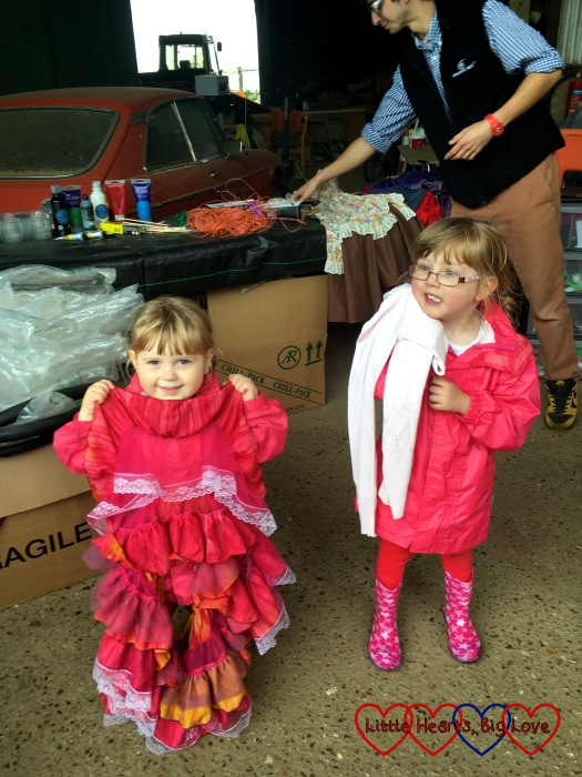Sophie and Jessica choosing the clothes for our scarecrow