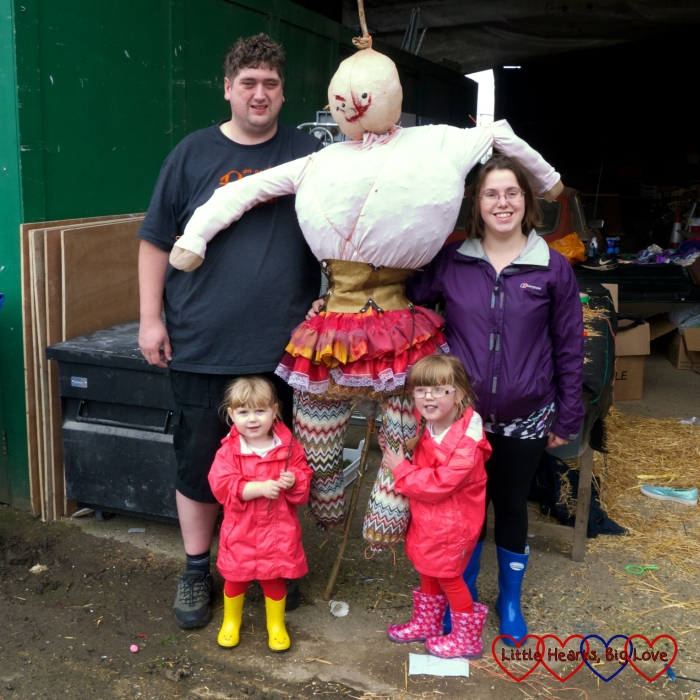 """Me, hubby, Jessica and Sophie with """"Lily"""" our finished scarecrow"""