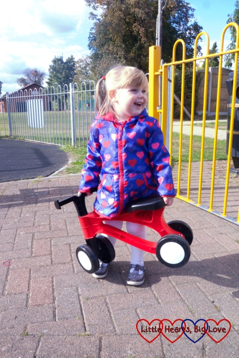 Sophie carrying the Toddlebike2