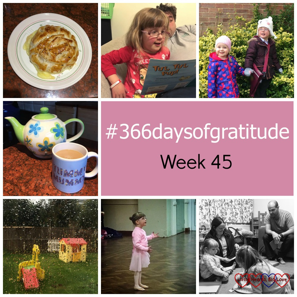 Recipe videos on social media, seeing Jessica enjoying learning to read, a fabulous report at parents' evening, hot sweet tea, a short school run, Jessica's first ballet lesson and time with friends - the things I'm thankful for this week
