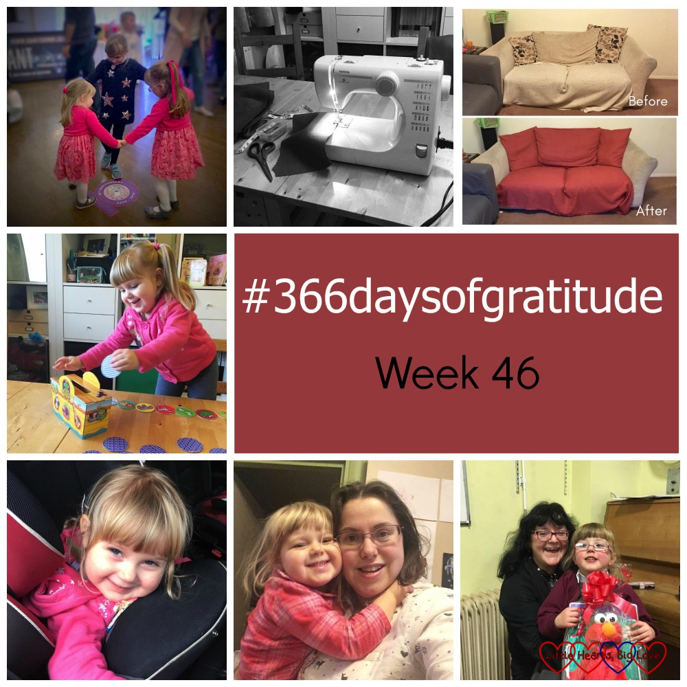 The Friends of PICU 10th anniversary party, my sewing machine, a 50% off sale at the fabric shop, playing board games, my cat, being able to carry Sophie downstairs and the school Christmas fayre - the things I'm grateful for this week