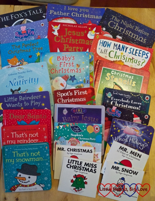 The different books that were included in last year's book advent calendar
