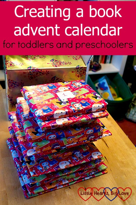 "A pile of Christmas books all wrapped ready for our book advent calendar: ""Creating a book advent calendar for toddlers and preschoolers"""
