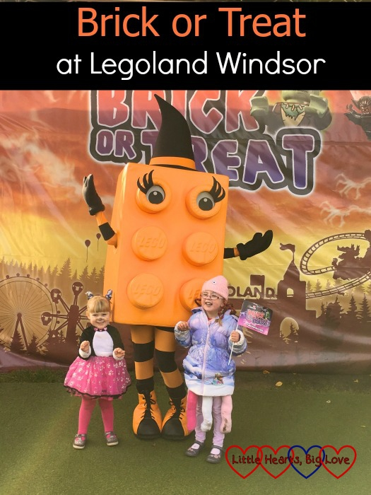 Jessica and Sophie with the orange brick: Brick or Treat at Legoland Windsor