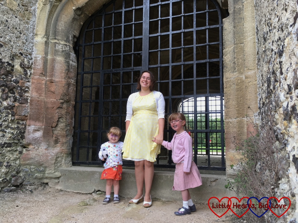 Me, Jessica and Sophie standing by the entrance to the gatehouse