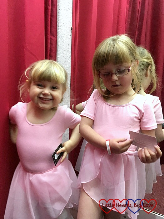 Jessica and Sophie trying on their ballet outfits