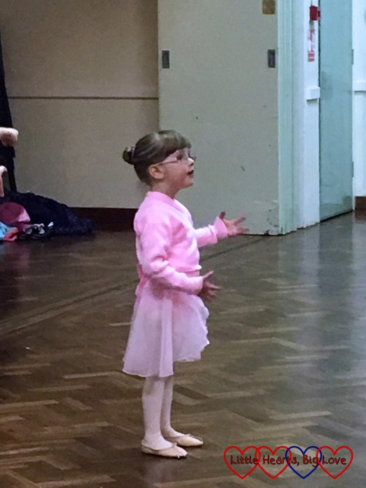Jessica dancing in her first ballet class
