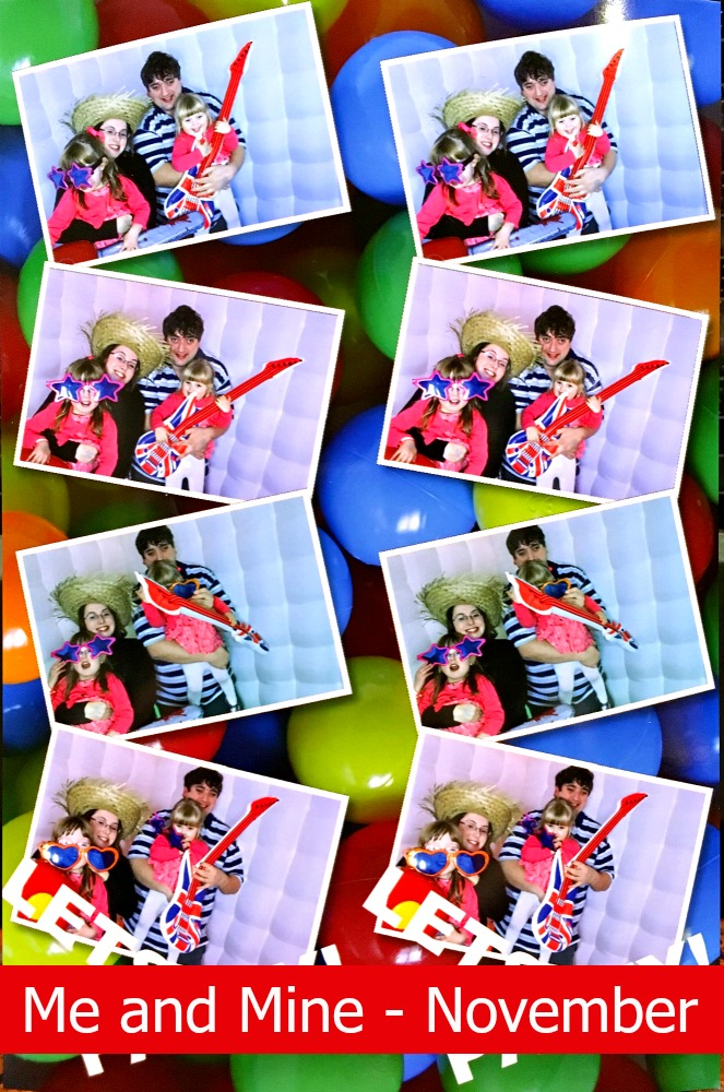 Eight snapshots of me, hubby, Jessica and Sophie in the photo booth at the Friends of PICU party
