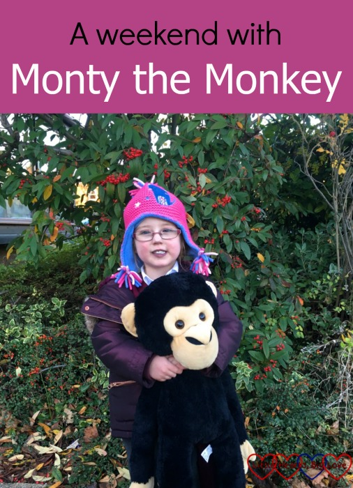 A very excited little Jessica taking Monty the monkey home for the weekend