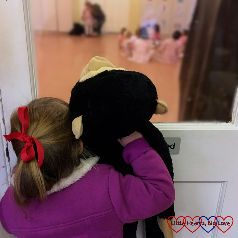 Jessica and Monty the monkey watching Sophie's ballet class