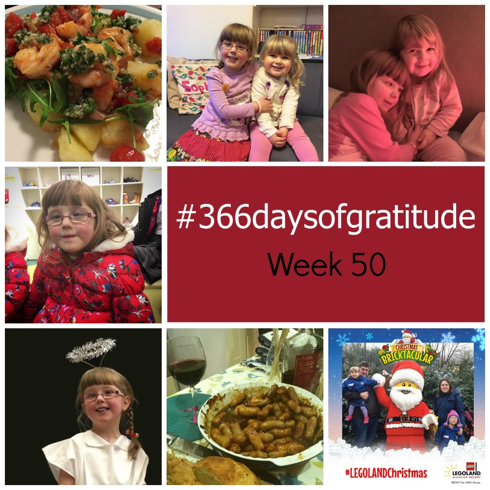 New recipes, afternoons after school, snuggles between my girls, Jessica's heart day, a little angel in the nativity play, sticky sausages and festive fun at Legoland - the things I'm grateful for this week