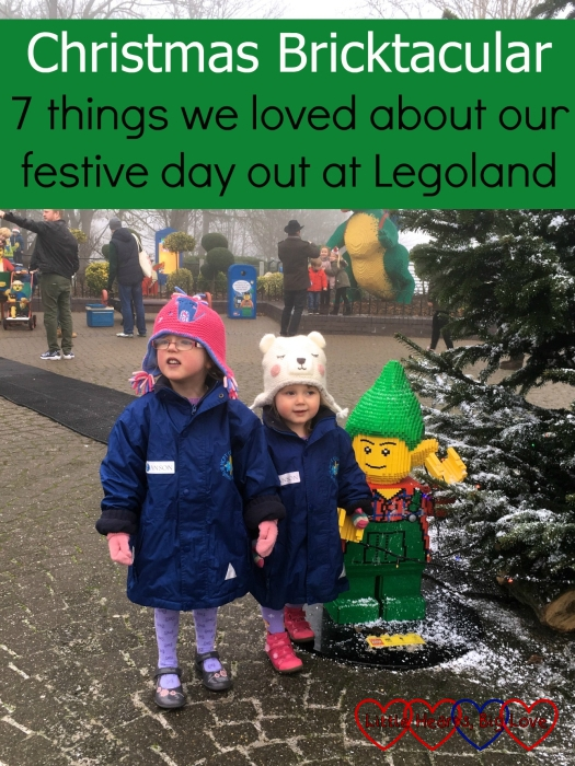 Jessica and Sophie with a Lego elf: Christmas Bricktacular - 7 things we loved about our festive day out at Legoland