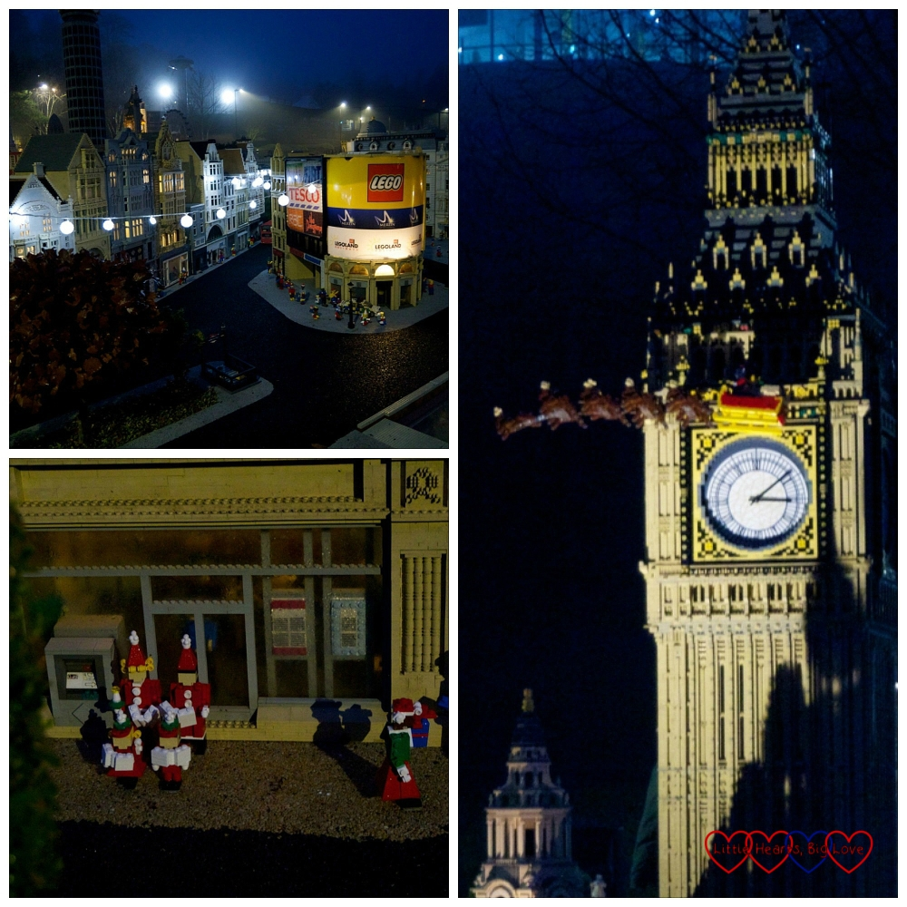 Christmas lights in London, Christmas scenes in Scotland and Father Christmas flying across Big Ben in Miniland