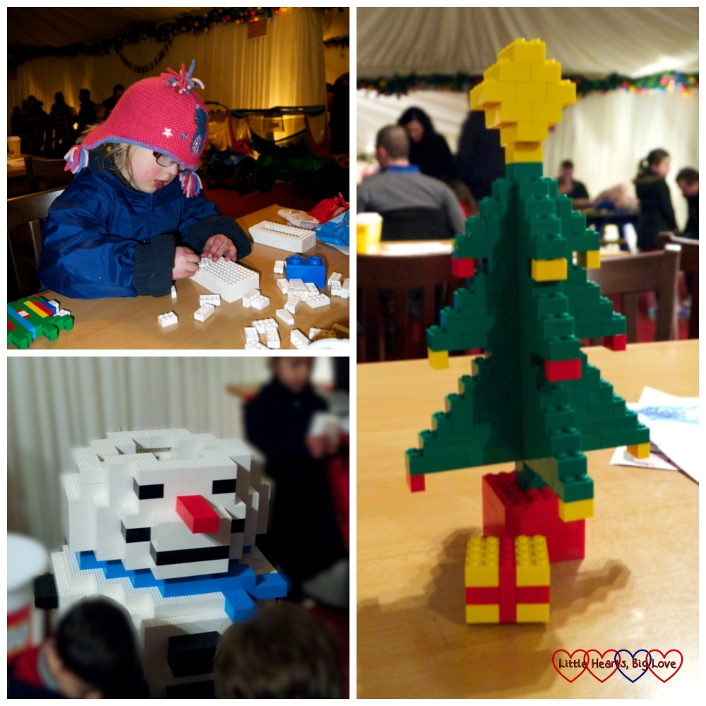 Getting creative in the Elves' Workshop - Jessica making a block for the snowman, the big Legoland snowman and my mini Christmas tree
