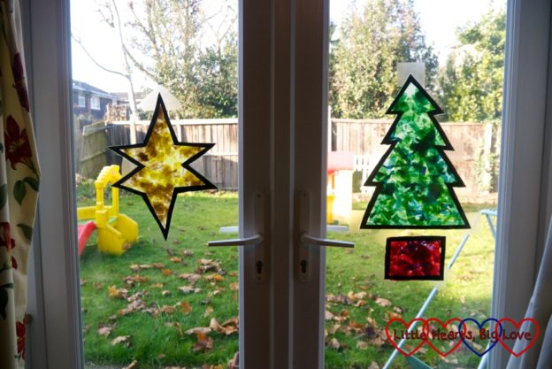 The finished star and Christmas tree on the French doors