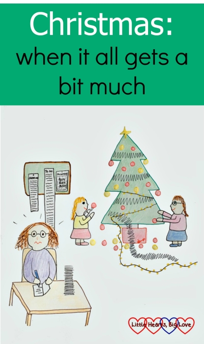 A cartoon sketch of a frazzled mummy trying to write a stack of Christmas cards while the kids dismantle the Christmas tree in the background
