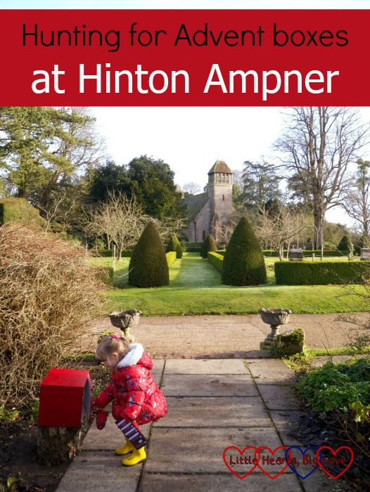 "Sophie opening one of the advent boxes at Hinton Ampner: ""Hunting for Advent boxes at Hinton Ampner"""