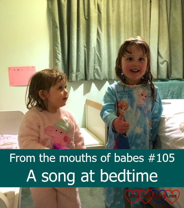 Jessica and Sophie getting ready to perform a little show at bedtime: From the mouths of babes #105 - A song at bedtime