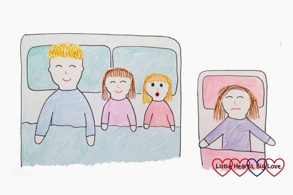 A drawing of a daddy and two children in a bed - with the daddy and one daughter asleep and the other awake plus Mummy sleeping in a toddler bed