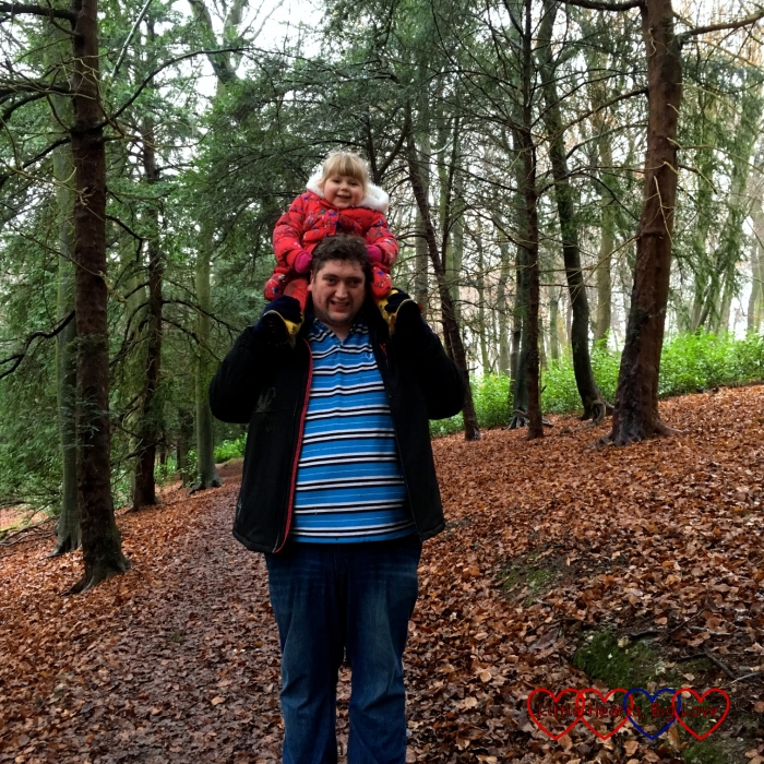 Hubby carrying Sophie on his shoulders