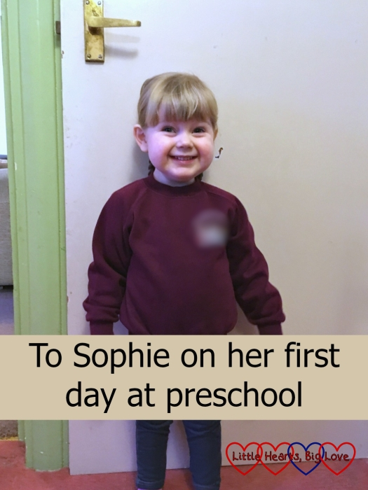Sophie on her first day at preschool
