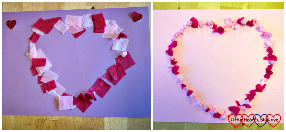 Sophie and Jessica's completed tissue paper hearts - the left heart is made with flat pieces of tissue paper and the right one is made with scrunched up pieces of tissue paper