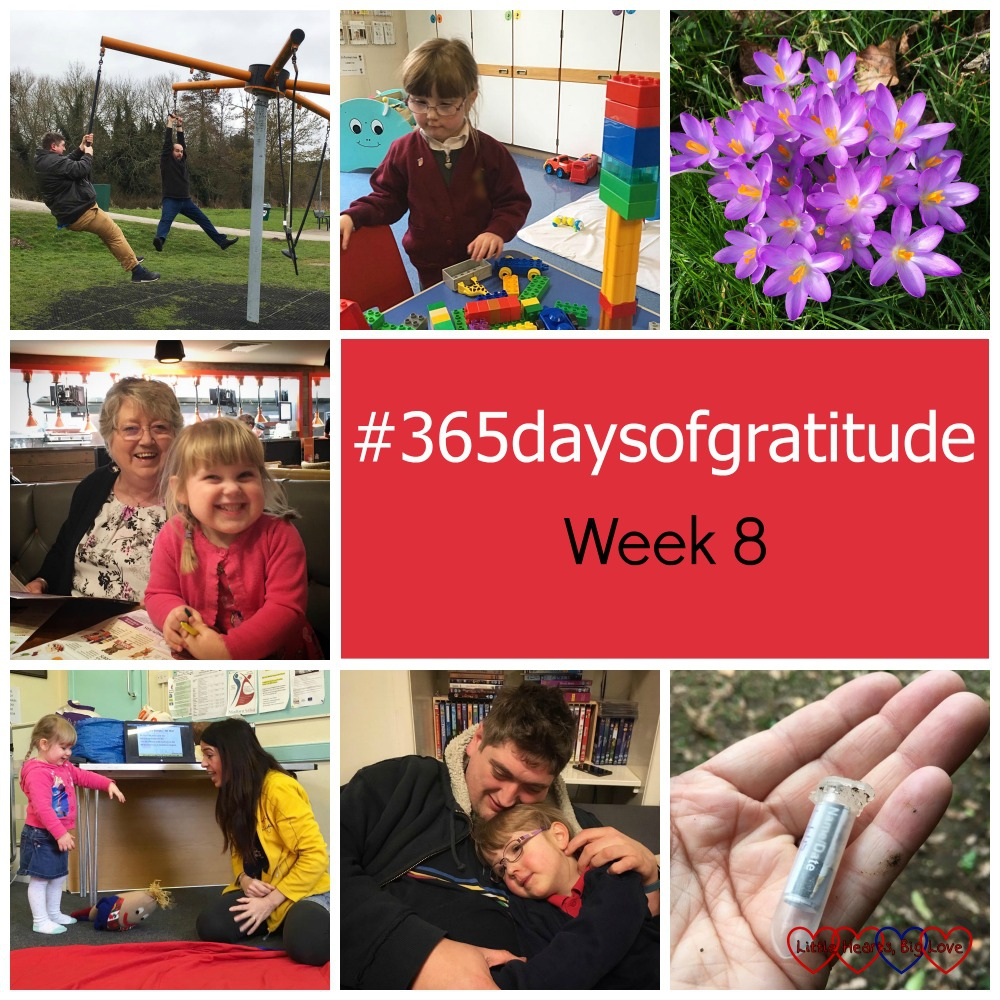 Fun at the park with friends, being discharged from the dietitian, crocuses, going out for Grandma's birthday, Sophie helping at French, Hubby picking up Jessica and time to go geocaching - the things I'm grateful for this week