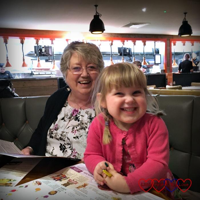 Grandma and Sophie at Grandma's birthday meal