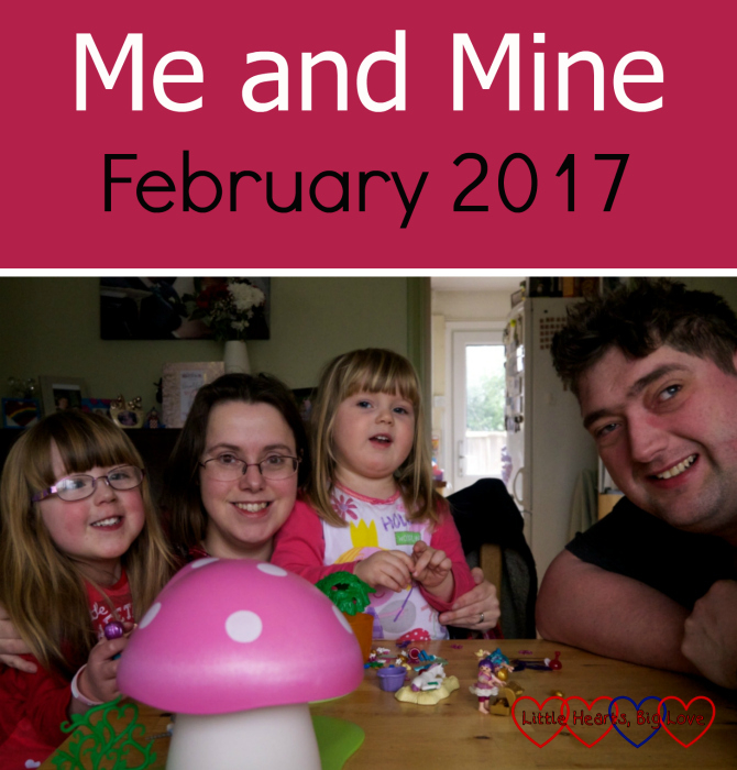 Jessica, me, Sophie and hubby at the table with the Playmobil - Me and Mine: February 2017