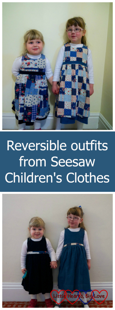 Jessica and Sophie in their reversible pinafore dresses - patchwork print at the top and plain blue corduroy below: Reversible outfits from Seesaw Children's Clothes