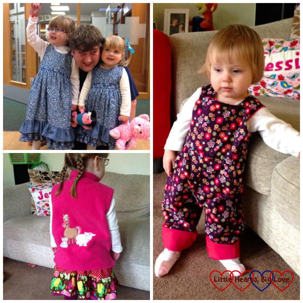 Top left - Jessica and Sophie wearing blue cotton print pinafore dresses with their Daddy in the middle of them. Bottom left - Jessica wearing a pink fleece bodywarmer with an appliqued picture of a pony and sheep. Right - Sophie wearing patterned print dungarees