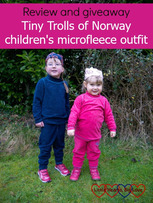 Jessica wearing a blue Tiny Trolls microfleece outfit and Sophie wearing a pink one: Review and giveaway - Tiny Trolls of Norway children's microfleece outfits
