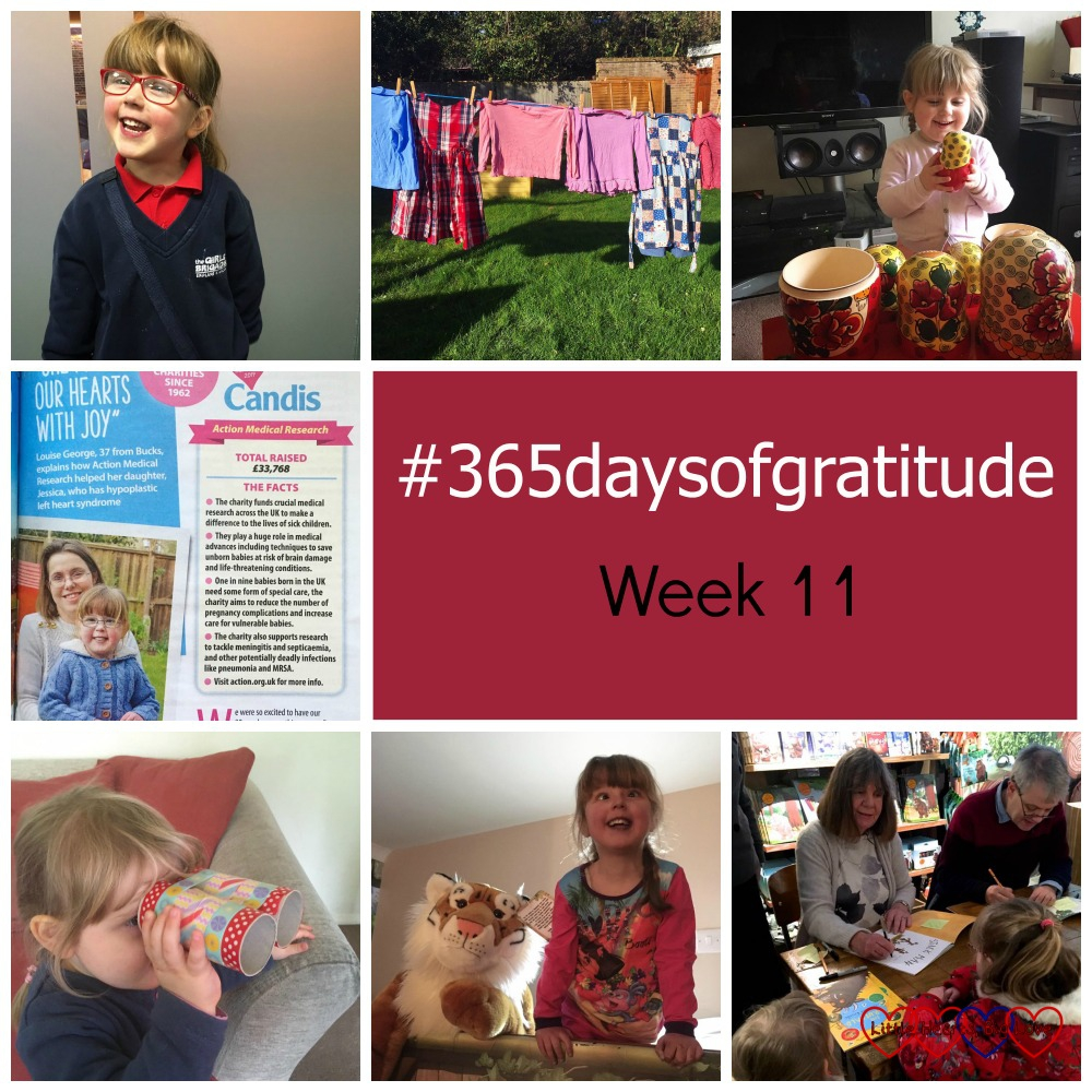 Jessica in her Girls' Brigade uniform, washing drying on the line, Sophie playing with Russian dolls, me and Jessica in a magazine article, Sophie with her toilet roll binoculars, Jessica with the tiger in the bunk bed at Chessington and Jessica and Sophie getting their book signed by Julia Donaldson and Axel Scheffler. #365daysofgratitude - Week 11