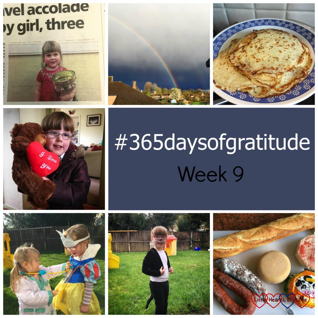 Social media helping to obtain an article in the paper, rainbows on a rainy day, pancakes, a good cardiac check-up and a bravery buddy, dressing up and imagination, a cat costume for World Book Day and French food from the market - the things I'm thankful for this week