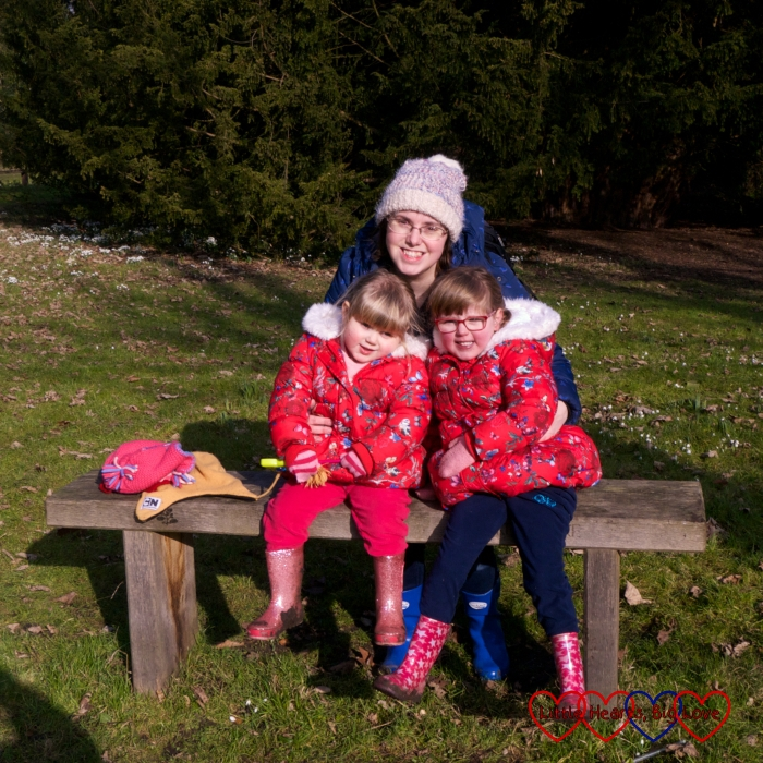 Me with Jessica and Sophie on the bench in front of the Ankerwycke Yew