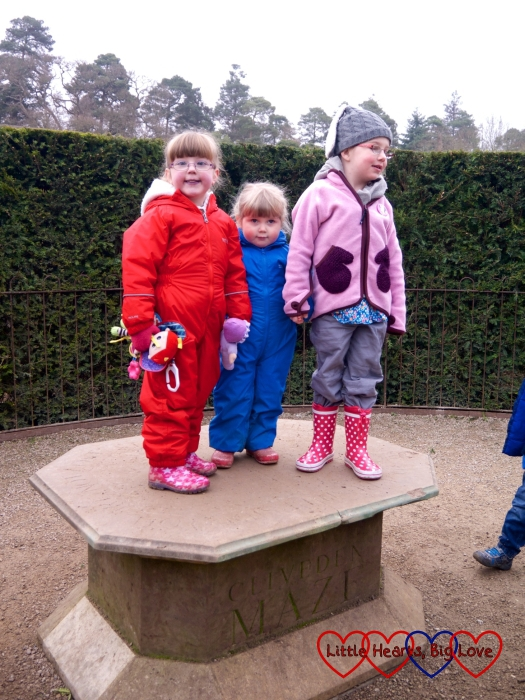 Jessica, Sophie and P in the centre of the maze at Cliveden