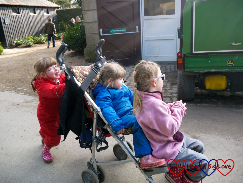 Jessica pushing Sophie and P around in P's buggy