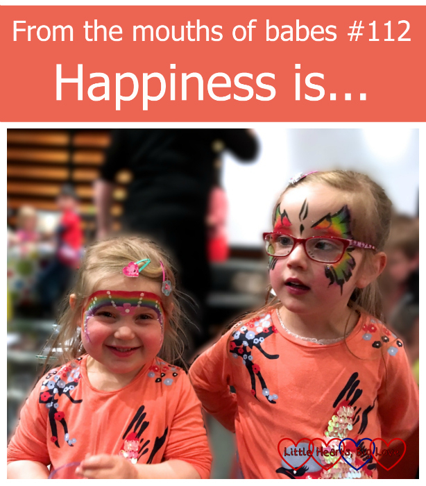 Sophie and Jessica with their faces painted at the Surf's Up 2 event. From the mouths of babes #112 - Happiness is...