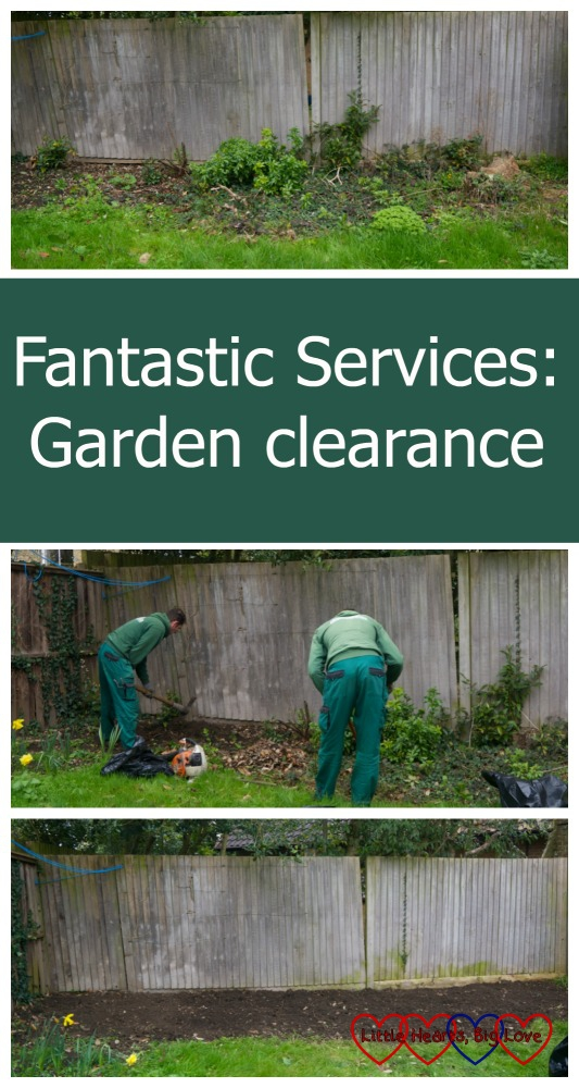 Before, during and after pictures from the Fantastic Services garden clearance